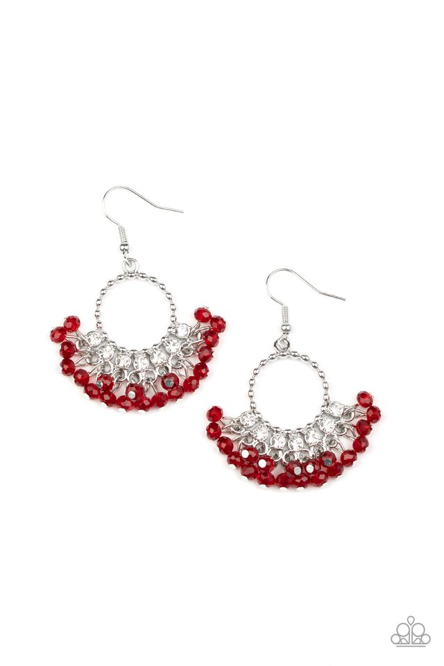 Charmingly Cabaret - Red - Paparazzi Earring Image
