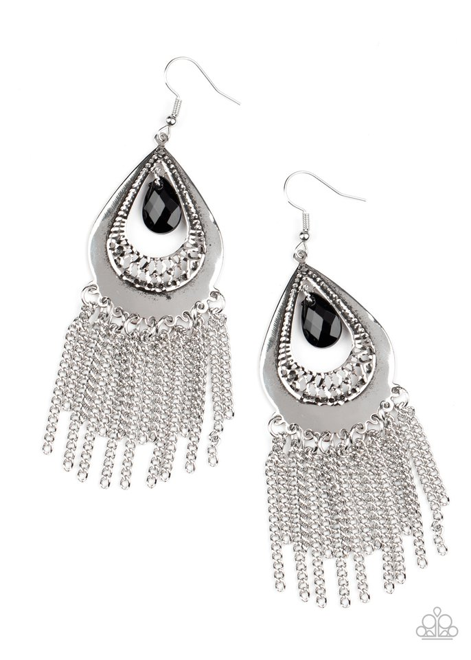 Scattered Storms - Black - Paparazzi Earring Image