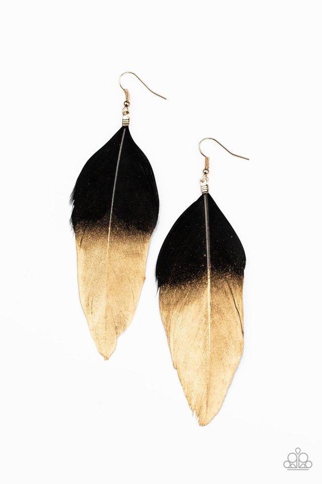 Fleek Feathers - Black - Paparazzi Earring Image