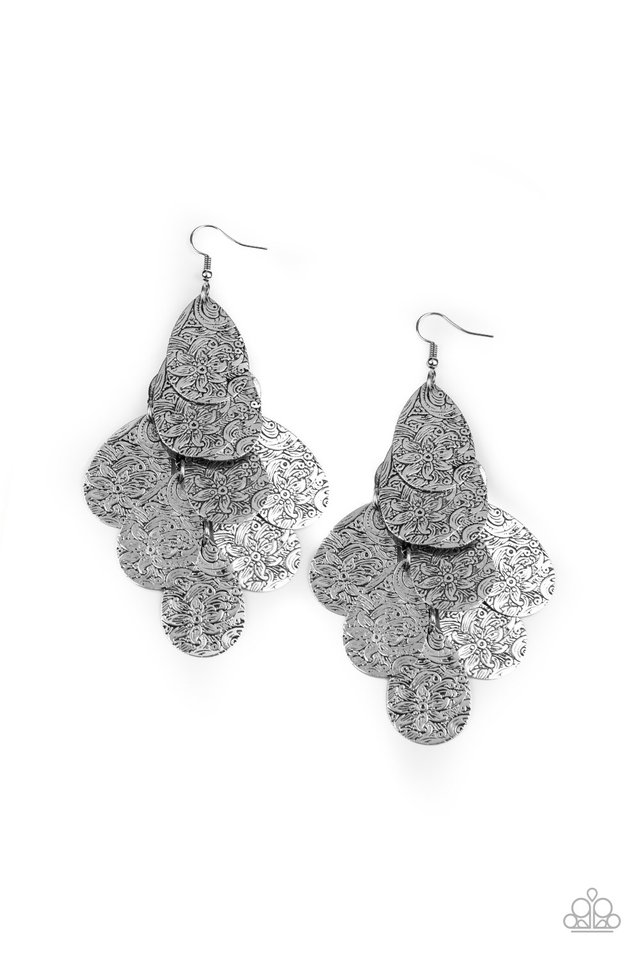 Hibiscus Harmony - Silver - Paparazzi Earring Image