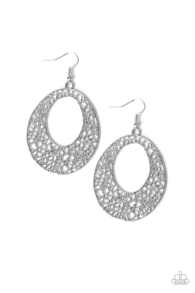 Serenely Shattered - Silver - Paparazzi Earring Image
