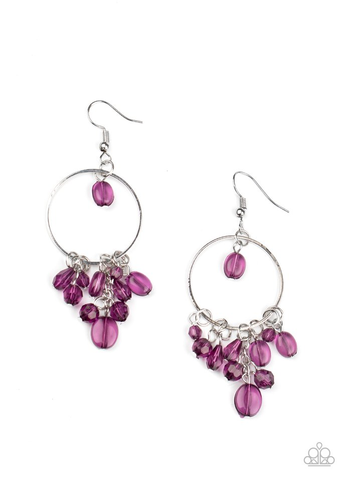 Where The Sky Touches The Sea - Purple - Paparazzi Earring Image