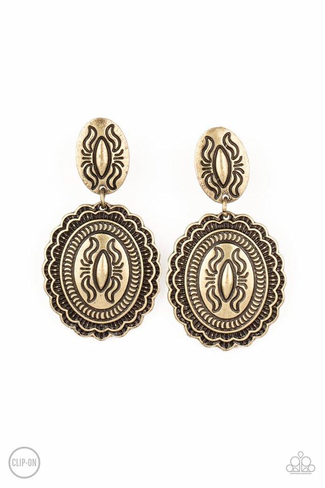 Ageless Artifact - Brass - Paparazzi Earring Image