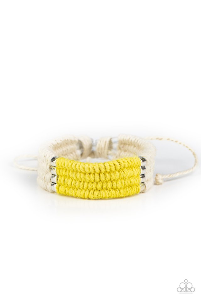 Hot Cross BUNGEE - Yellow - Paparazzi Bracelet Image