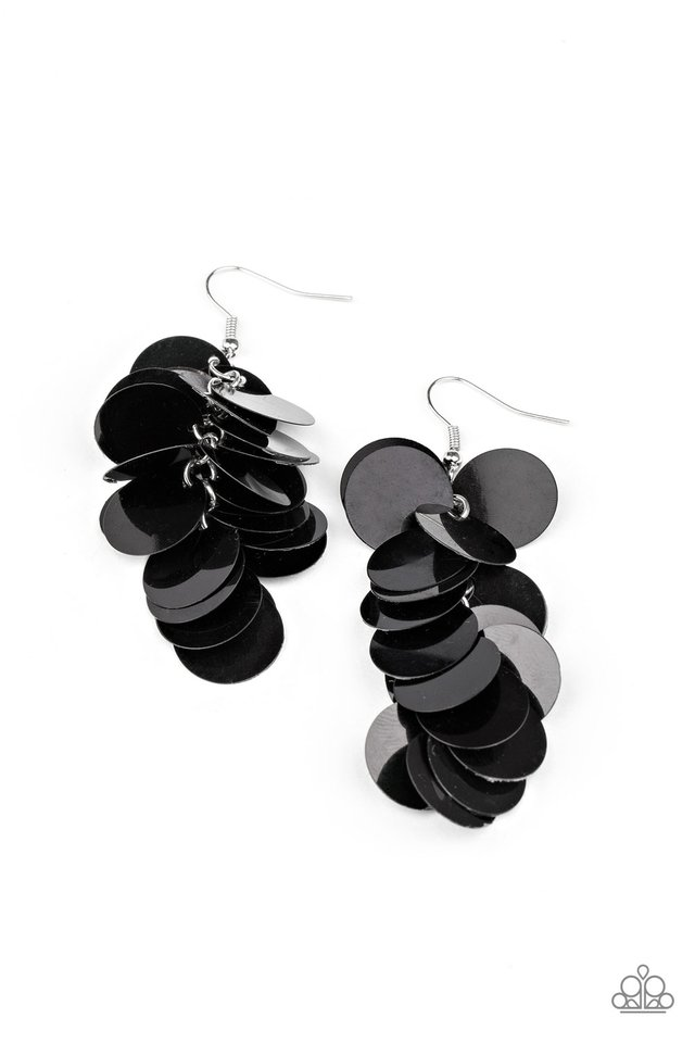 Now You SEQUIN It - Black - Paparazzi Earring Image