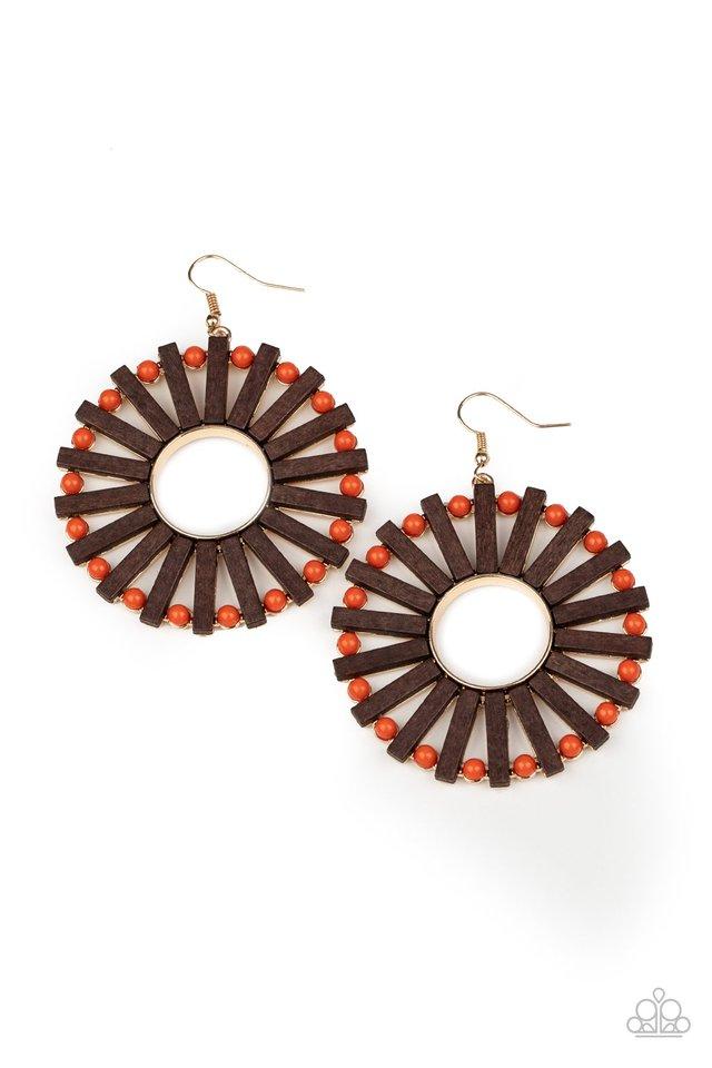 Solar Flare - Orange - Paparazzi Earring Image