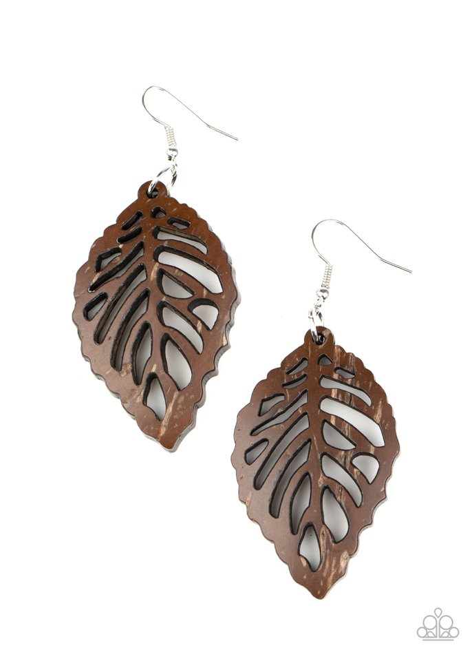 LEAF Em Hanging - Brown - Paparazzi Earring Image