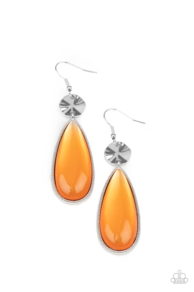 Jaw-Dropping Drama - Orange - Paparazzi Earring Image