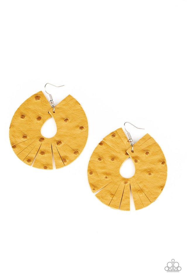 Palm Islands - Yellow - Paparazzi Earring Image