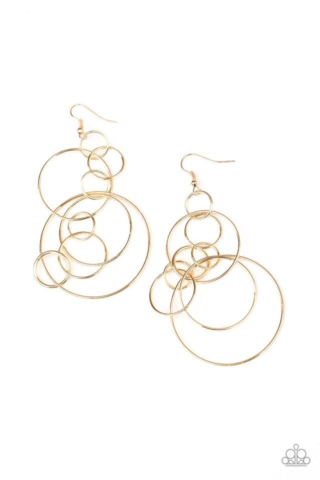 Running Circles Around You - Gold - Paparazzi Earring Image