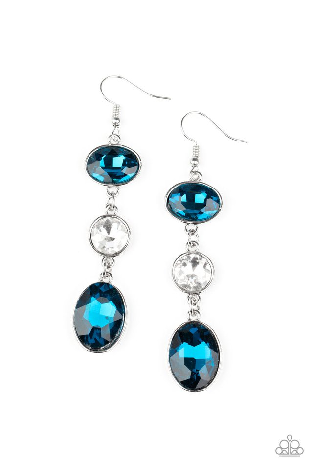 The GLOW Must Go On! - Blue - Paparazzi Earring Image