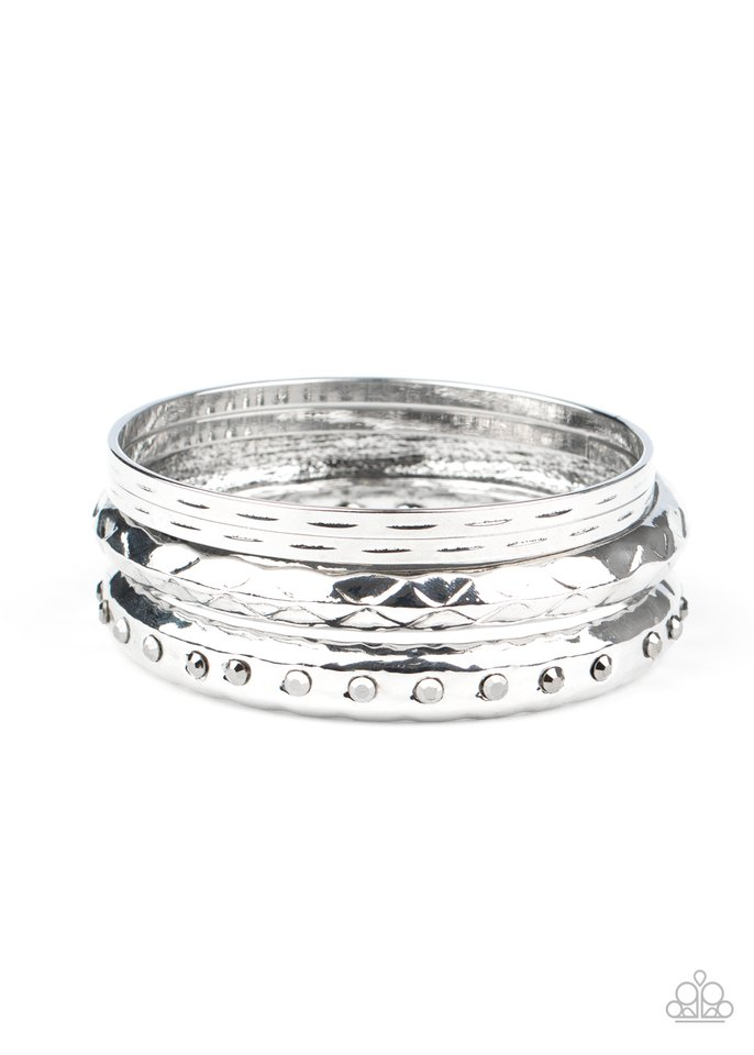 Revved Up Rhinestones - Silver - Paparazzi Bracelet Image