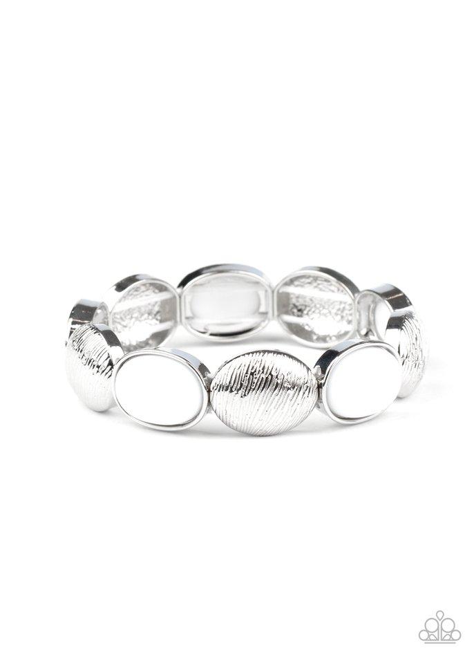 Decadently Dewy - White - Paparazzi Bracelet Image