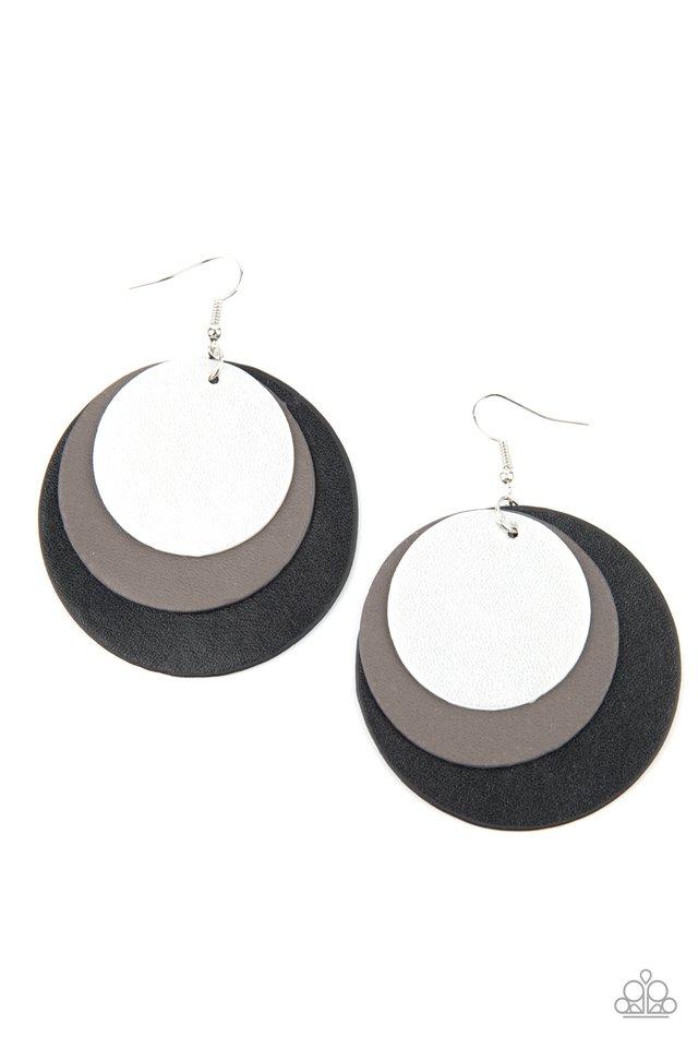 LEATHER Forecast - Black - Paparazzi Earring Image