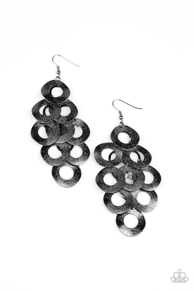 Scattered Shimmer - Black - Paparazzi Earring Image
