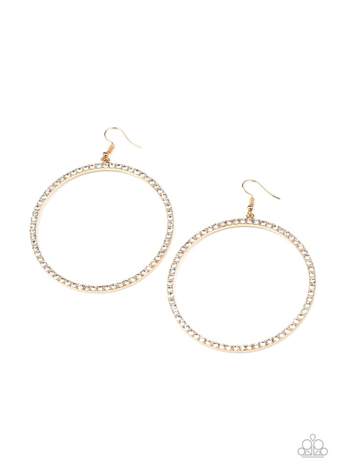 Wide Curves Ahead - Gold - Paparazzi Earring Image