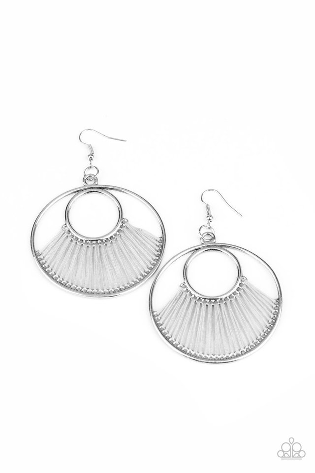 Really High-Strung - Silver - Paparazzi Earring Image