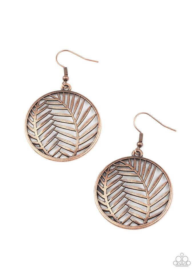 Palm Perfection - Copper - Paparazzi Earring Image