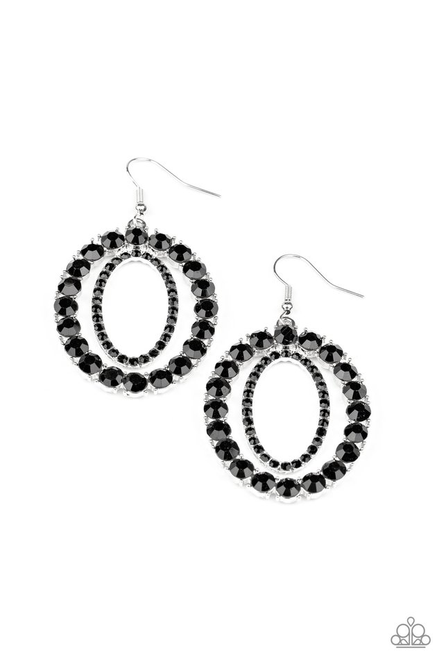 Deluxe Luxury - Black - Paparazzi Earring Image