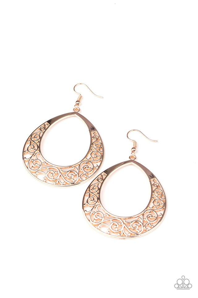 Vineyard Venture - Rose Gold - Paparazzi Earring Image