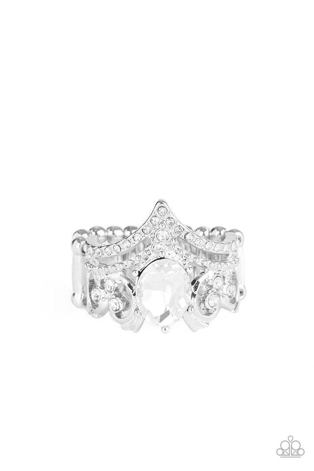Metro Queen - White - Paparazzi Ring Image