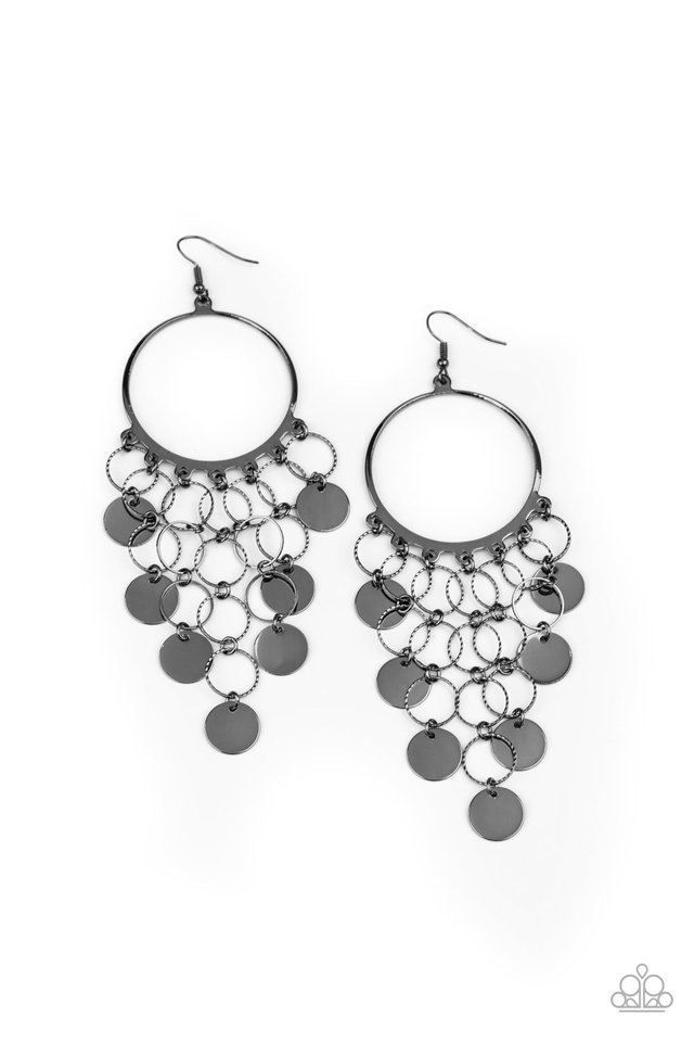 Take a CHIME Out - Black - Paparazzi Earring Image