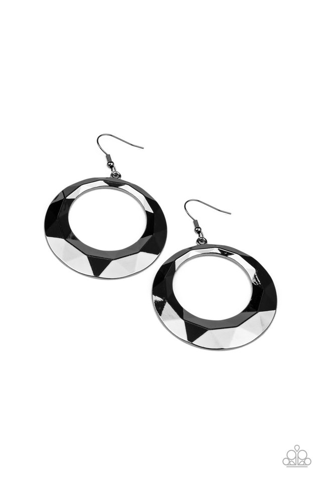 Fiercely Faceted - Black - Paparazzi Earring Image