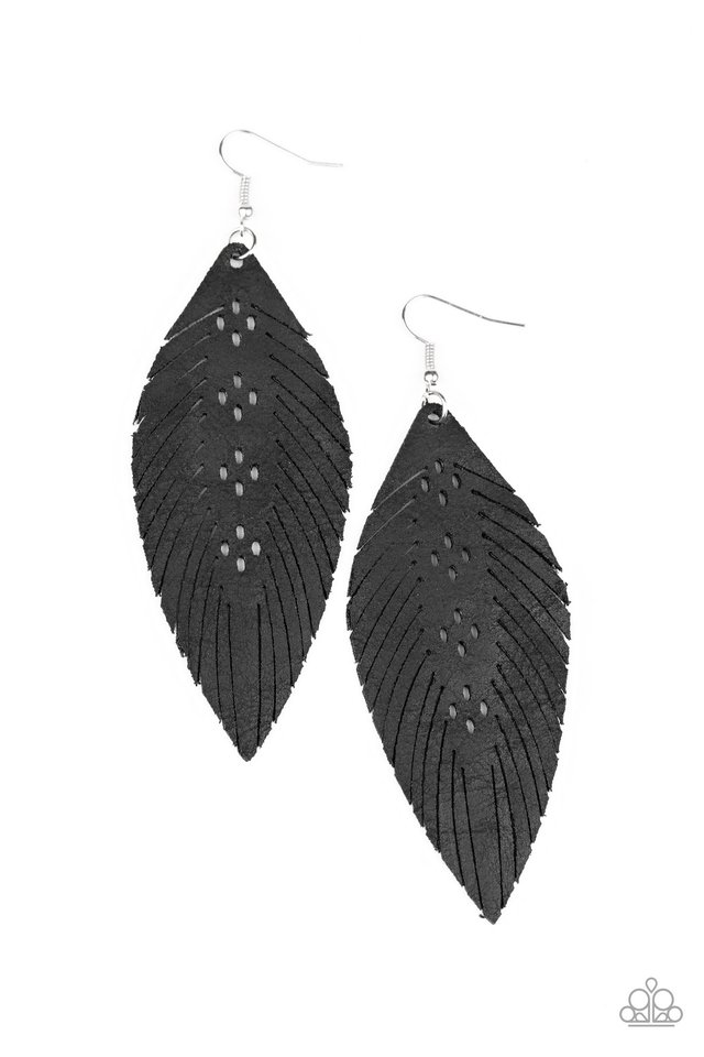 Wherever The Wind Takes Me - Black - Paparazzi Earring Image