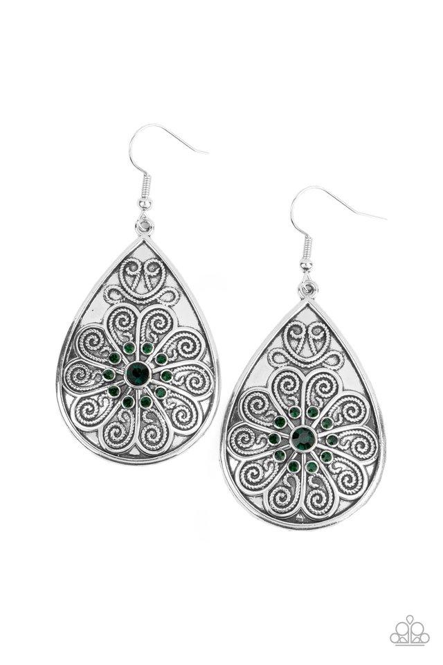 Banquet Bling - Green - Paparazzi Earring Image