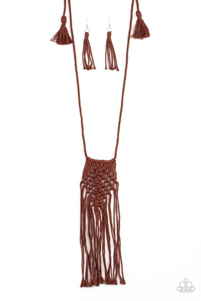 Macrame Mantra - Brown - Paparazzi Necklace Image