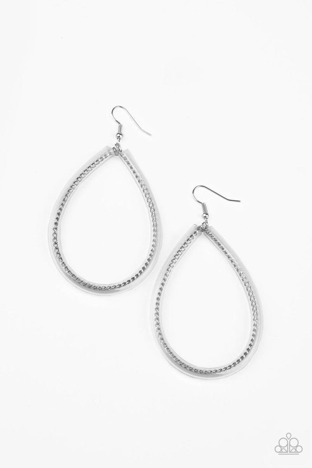 Just ENCASE You Missed It - Silver - Paparazzi Earring Image
