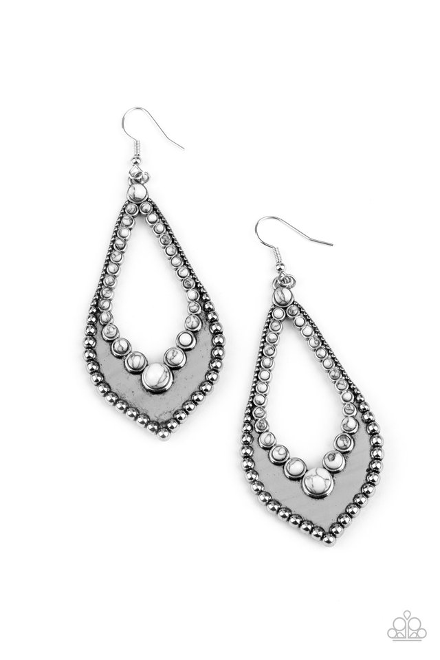 Essential Minerals - White - Paparazzi Earring Image