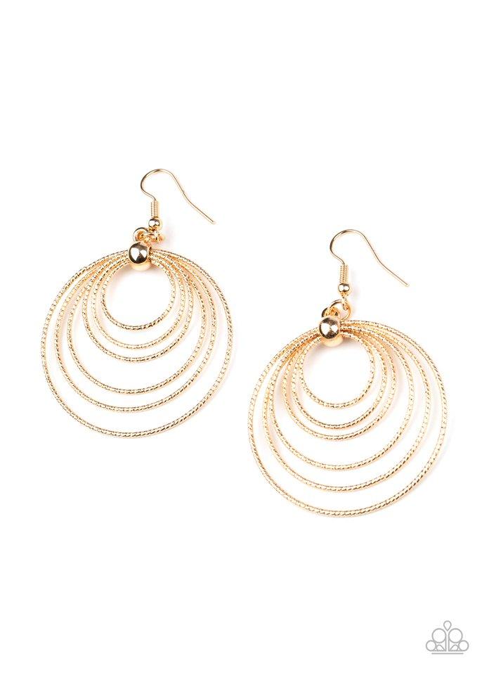 Elliptical Elegance - Gold - Paparazzi Earring Image