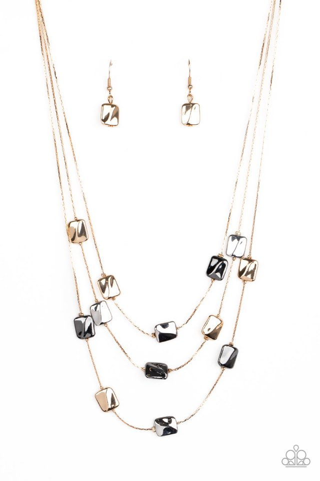 Downtown Reflections - Gold - Paparazzi Necklace Image