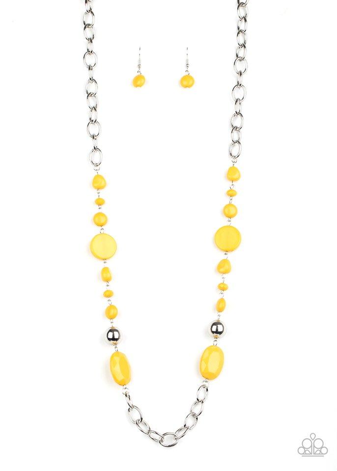 When I GLOW Up - Yellow - Paparazzi Necklace Image