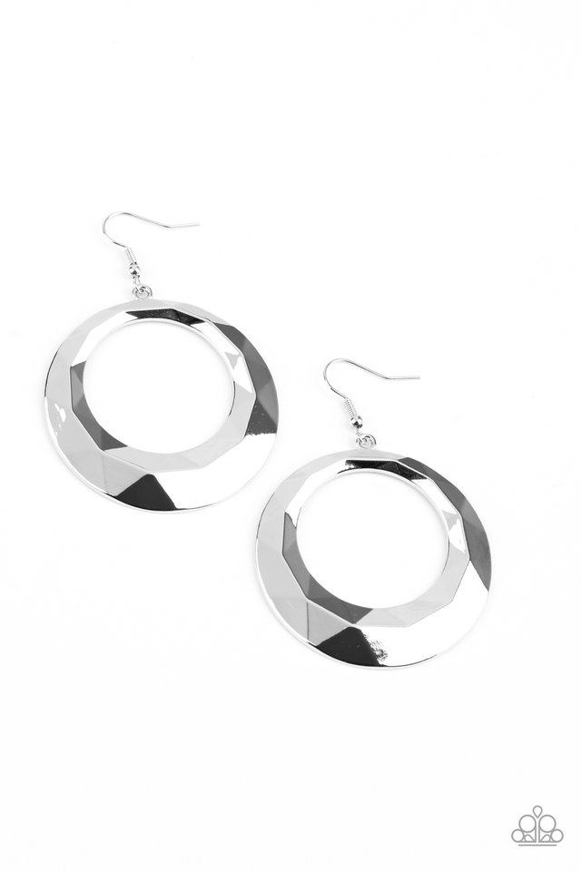 Fiercely Faceted - Silver - Paparazzi Earring Image