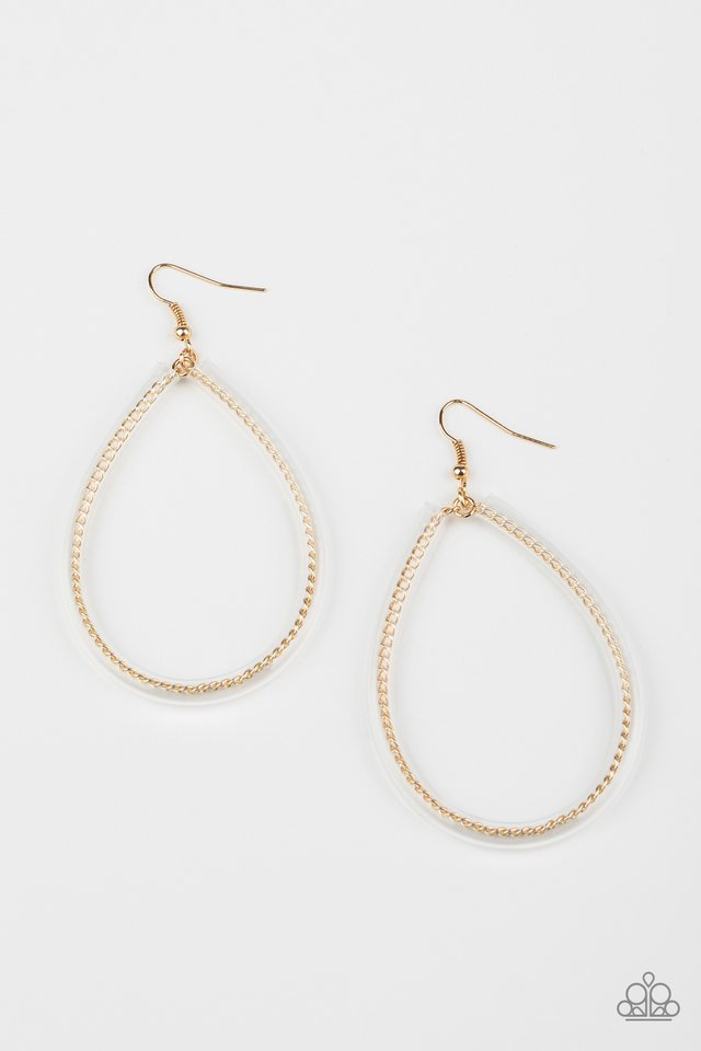 Just ENCASE You Missed It - Gold - Paparazzi Earring Image