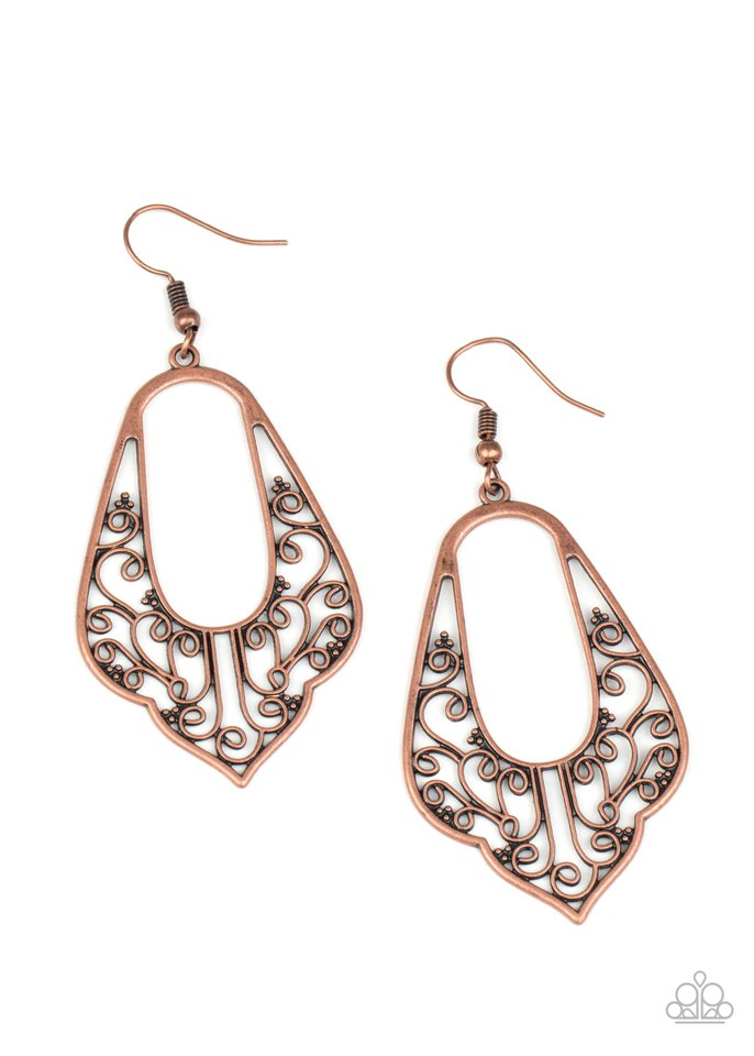Grapevine Glamour - Copper - Paparazzi Earring Image