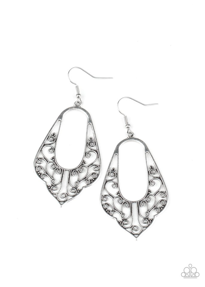 Grapevine Glamour - Silver - Paparazzi Earring Image
