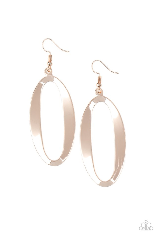 OVAL My Head - Rose Gold - Paparazzi Earring Image