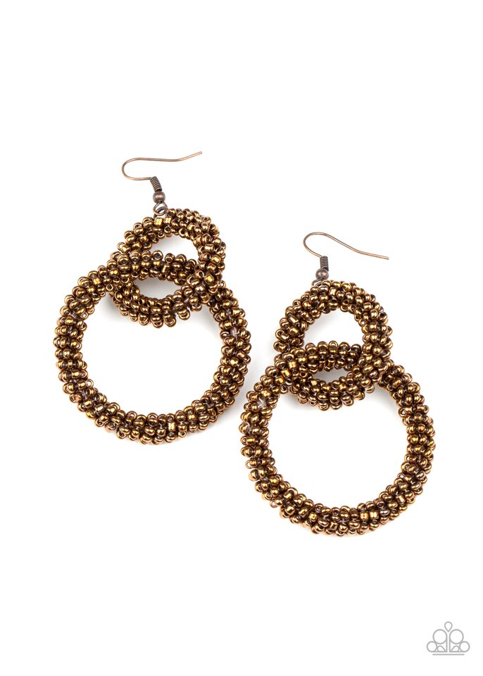 Luck BEAD a Lady - Copper - Paparazzi Earring Image