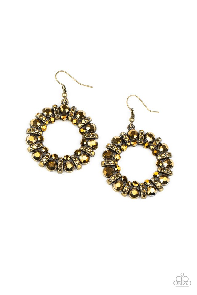 Baby, Its Cold Outside - Brass - Paparazzi Earring Image