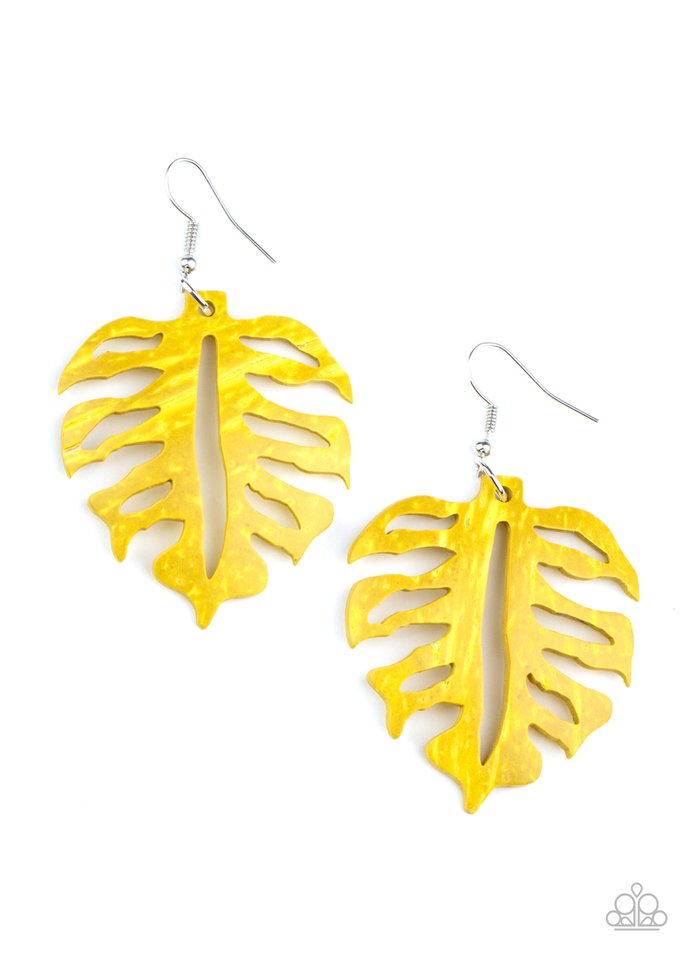 Shake Your PALMS PALMS - Yellow - Paparazzi Earring Image