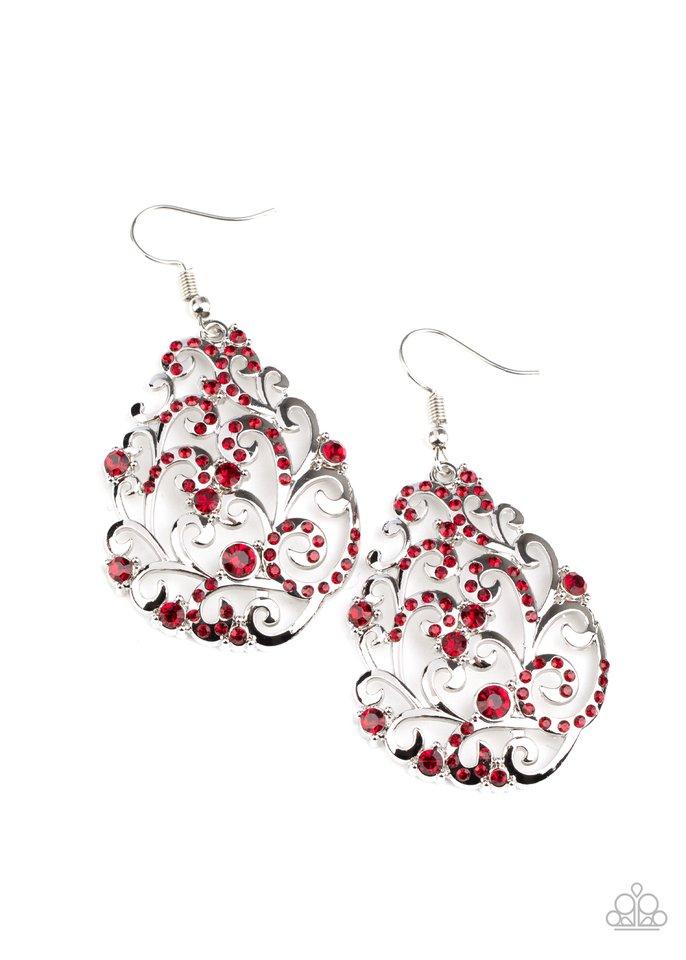 Winter Garden - Red - Paparazzi Earring Image