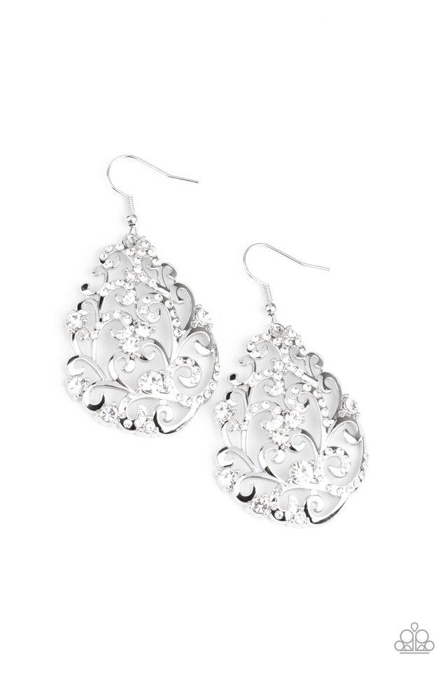 Winter Garden - White - Paparazzi Earring Image