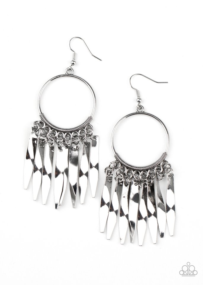 Let GRIT Be! - Silver - Paparazzi Earring Image