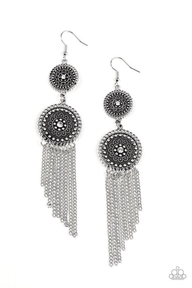 Medallion Mecca - White - Paparazzi Earring Image