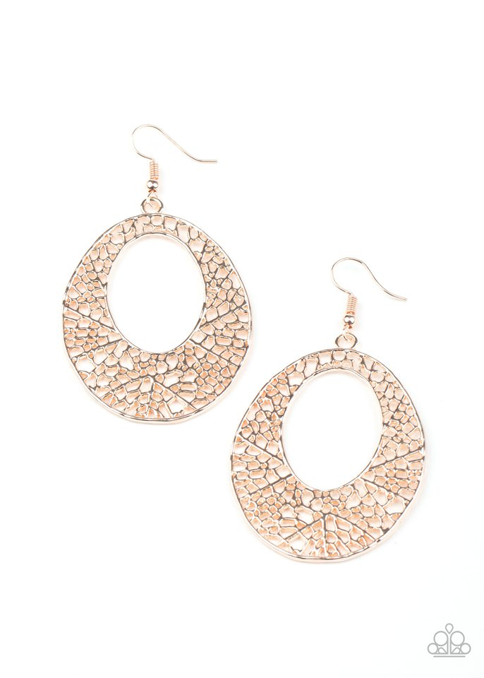 Serenely Shattered - Rose Gold - Paparazzi Earring Image