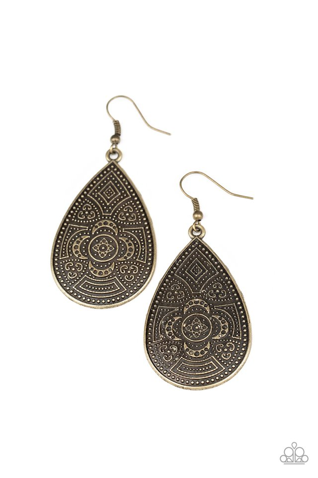 Tribal Takeover - Brass - Paparazzi Earring Image