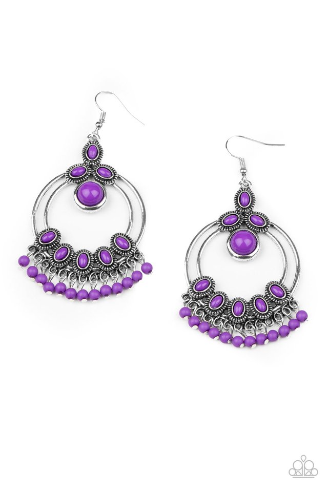 Palm Breeze - Purple - Paparazzi Earring Image